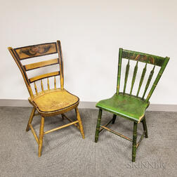 Two Paint-decorated Windsor Side Chairs