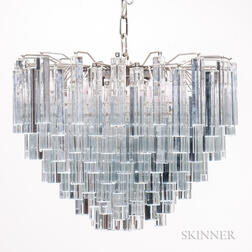 Venini Three-tier Chandelier with Murano Glass Prisms
