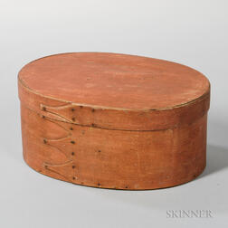 Salmon-painted Oval Shaker Box