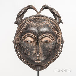 Senufo-style Carved Wood Face Mask