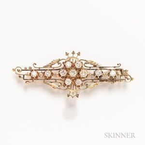 Victorian 14kt Gold and Diamond Brooch