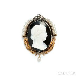 Antique 18kt Gold, Hardstone Cameo, and Pearl Brooch