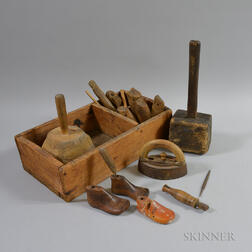 Pine Cobbler's Box and Turned Tools.