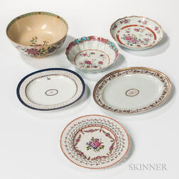 Six Export Porcelain Table Items