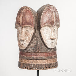 Fang-style Polychrome Carved Wood Helmet Mask