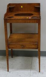 Federal Tiger Maple Washstand with Medial Drawer.