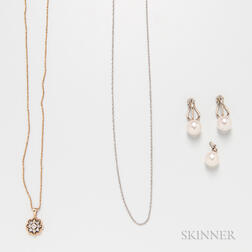 Pair of 14kt White Gold and Cultured Pearl Earclips, a 14kt Gold and Diamond Pendant with 14kt Gold Chain, and a Cultured Pearl and Dia