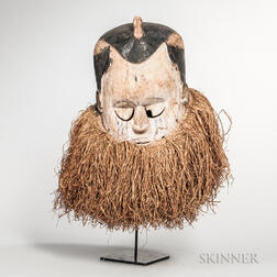 Congo-style Carved and Painted Helmet Mask