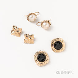 Three Pairs of 14kt Gold Earrings