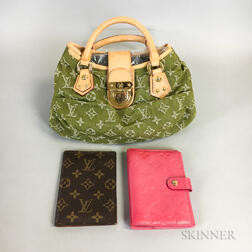 Green Louis Vuitton Handbag and Two Louis Vuitton Accessories