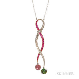 Diamond and Gem-set Pendant