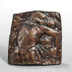 Käthe Schmidt Kollwitz (German, 1867-1945)      Pair of Relief Sculptures: Mutter schützt ihr Kind I (Mother Protecting Her Child I)