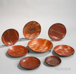 Eight Slipware Plates