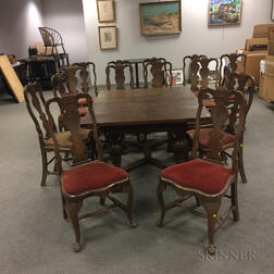 Queen Anne-style Dining Table and Fifteen Dining Chairs
