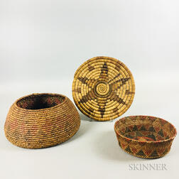 Two California Baskets and a Hopi Tray