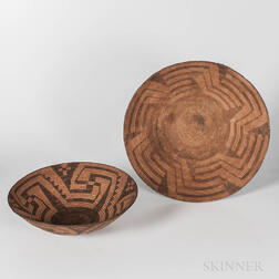 Two Pima Coiled Basketry Trays
