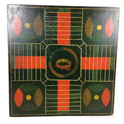 "Small Polychrome Painted Wood ""Home"" Parcheesi Game Board"