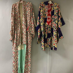 Two Patterned Silk Kimonos