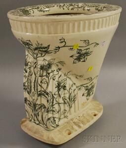 """British """"The Olungania"""" Floral Transfer-decorated Porcelain Toilet"""