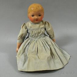 Martha Chase-type Oil Painted Stockinette Baby Doll