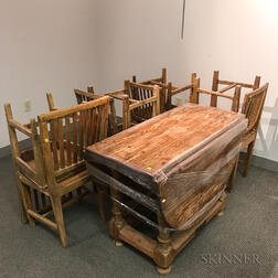 Swedish Oak and Pine Drop-leaf Table and Eight Chairs.     Estimate $400-600