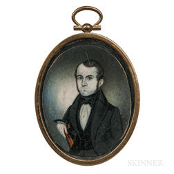 Attributed to Henry Walton (American, 1804-1865)      Miniature Portrait of a Gentleman