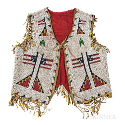 Plains Pictorial Beaded Hide Child's Vest