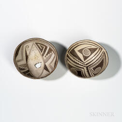 Two Mimbres Black-on-white Pottery Bowls