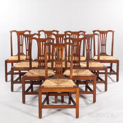 Set of Ten Cherry Rush-seat Dining Chairs