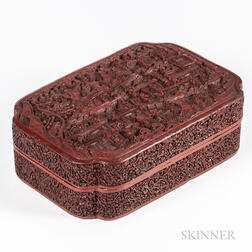 Carved Cinnabar Lacquered Box and Cover
