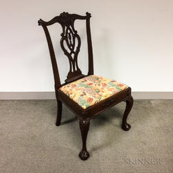 Chippendale-style Carved and Upholstered Mahogany Side Chair