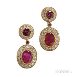 18kt Gold, Ruby, and Diamond Earclips