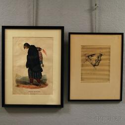 "Framed Lithograph ""Chippeway"" Squaw and Child"