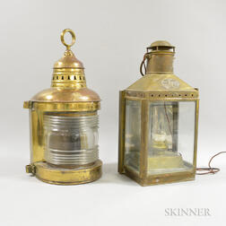 Two Brass and Glass Ship's Lanterns
