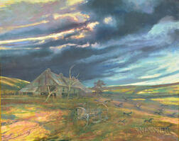 Stephen Bagnell (American, 1930-1996)      Barn, Plow, and Crows Under Stormy Skies
