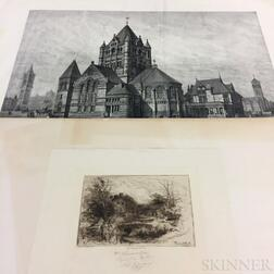 Two Prints of Boston Area Landmarks by Massachusetts Artists:      G.E. Johnson (American, 19th/20th Century), Trinity Church