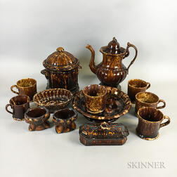Thirteen Rockingham-glazed Table Items
