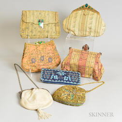 Group of Beaded and Embroidered Silk Evening Bags.