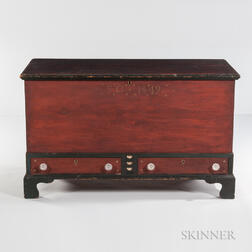 Paint-decorated and Carved Dower Chest over Two Drawers