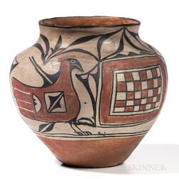 Santo Domingo Polychrome Pottery Olla