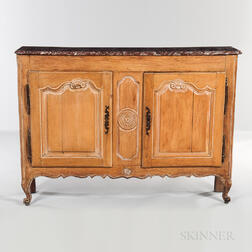 French Provincial Beechwood Marble-top Side Cabinet