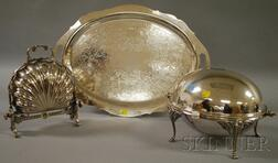 Two Covered Silver-plated Serving Dishes and a Towle Silver-plated Tray