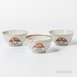 Three Export Porcelain Eagle-decorated Teacups