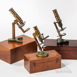 Three Lacquered Brass Monocular Microscopes