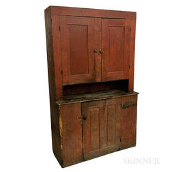 Country Red-painted Pine Cupboard