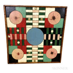 Polychrome Painted Wood Parcheesi Game Board