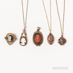 Group of Victorian Cameos and a Locket