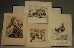 George Albert Gale (American, 1893-1951)      Lot of Four Nautical-themed Etchings:   Haul Line