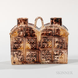 Staffordshire Brown Translucent-glazed Double Tea Cannister