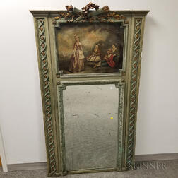 Louis XV-style Carved and Painted Trumeau Mirror